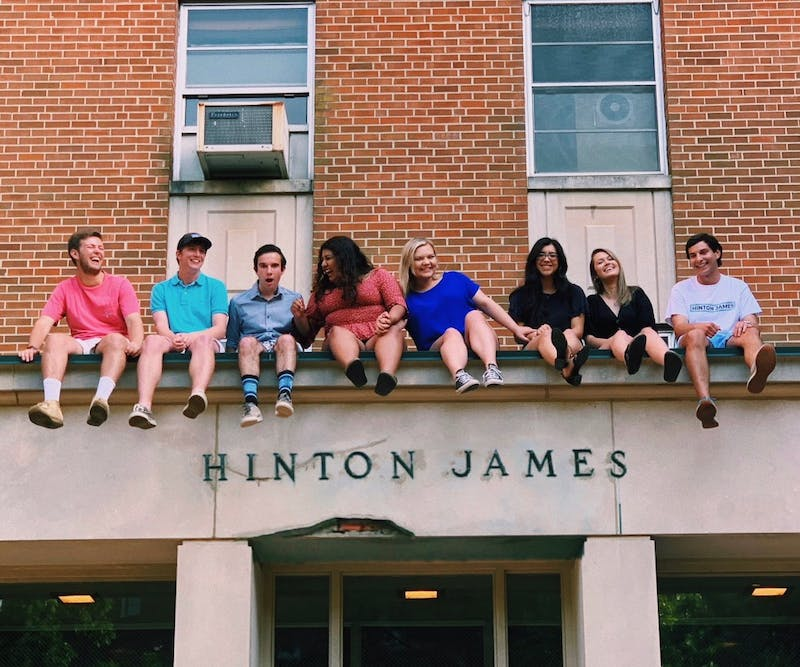 Spence Perry and his friend group atop one of the first-year residential halls, Hinton James.
