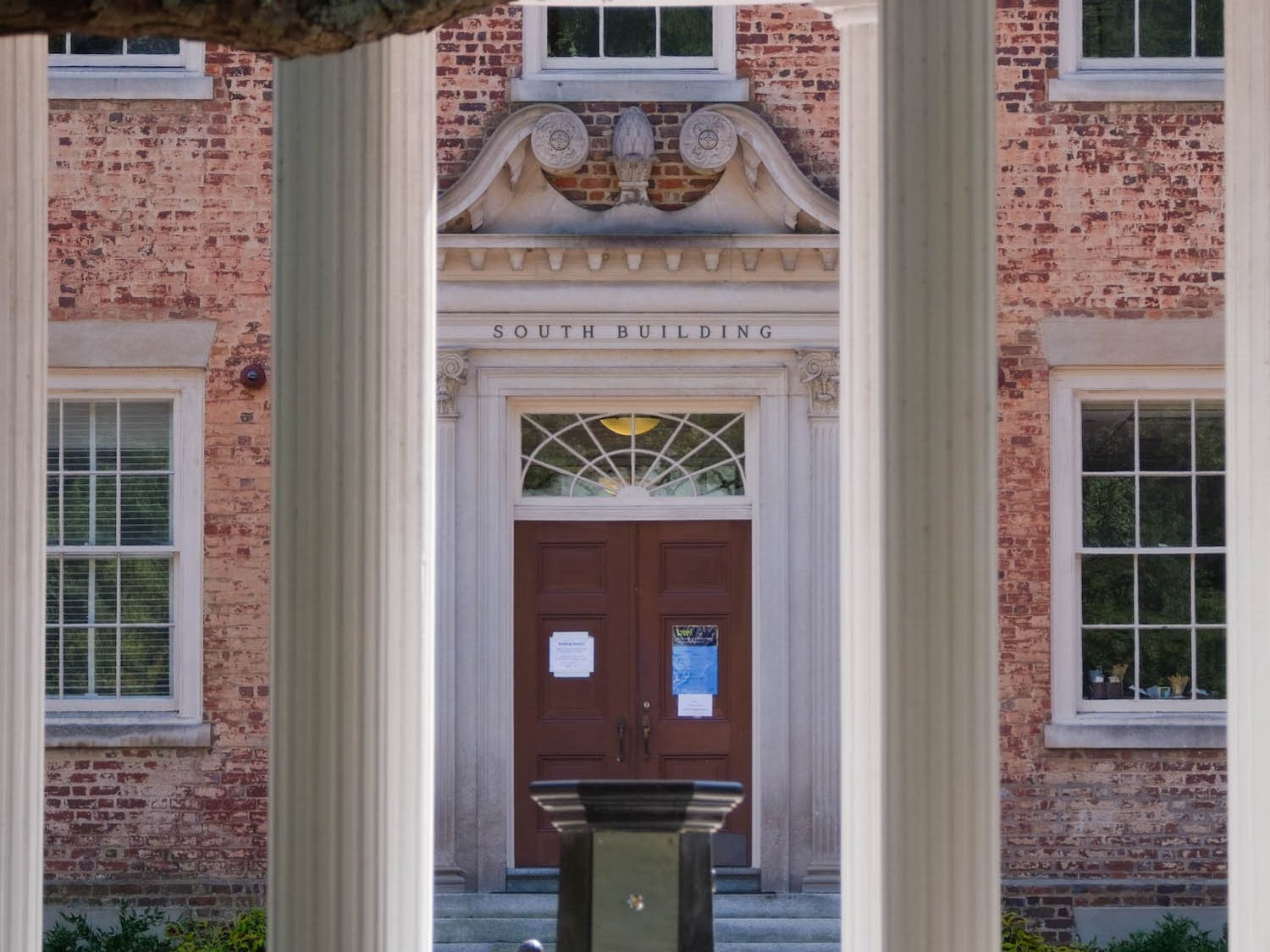 South Building, home to the Office of the Chancellor, as pictured from the Old Well on Sunday, Sept. 12, 2020.
