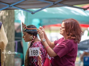 Taylor Williams serves as 2018-2019 Senior Miss Warren County Indian Education Princess at Haliwa-Saponi Pow Wow in Hollister, NC. Photo Courtesy of Taylor Williams.