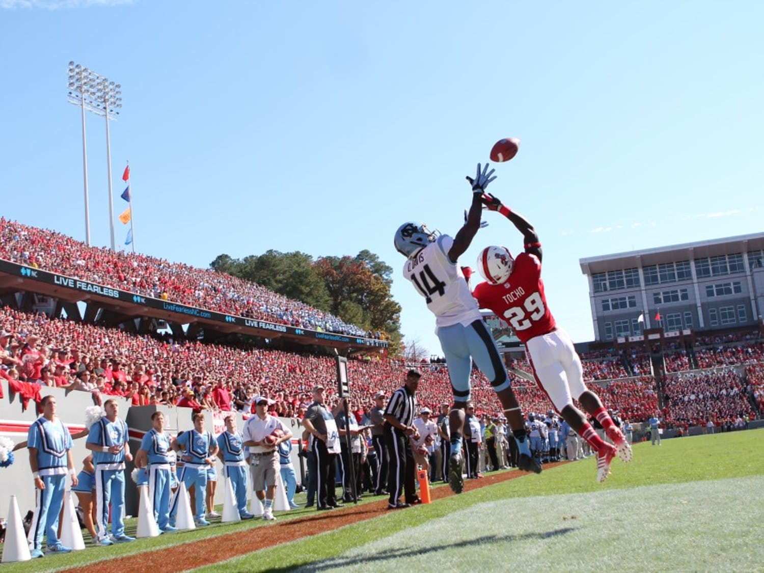 Wide Receiver Quinshad Davis (14) catches UNC's first touchdown of the game against N.C. State.
