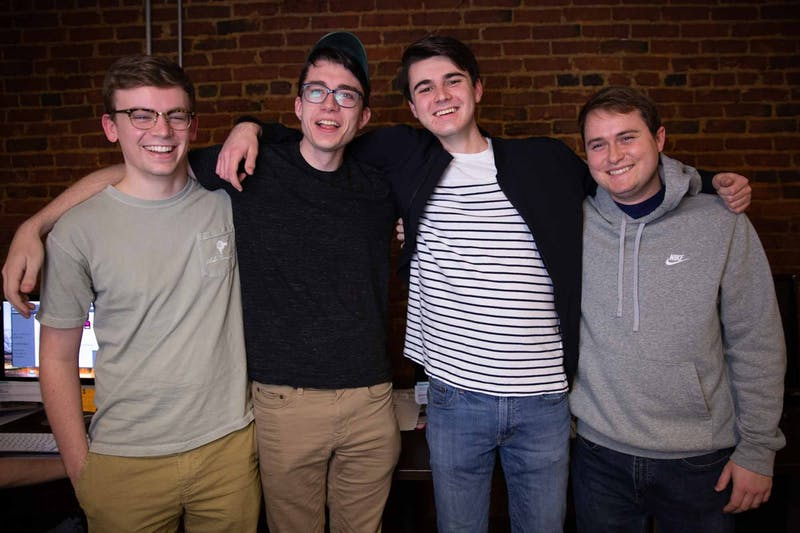 From left, Jared McMasters (assistant sports editor), Brian Keyes (assistant sports editor), Ryan Wilcox (sports editor), and Matt Chilson (assistant sports editor).