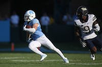 Former UNC receiver Ryan Switzer (3) runs up field with the ball in a game against the Pittsburgh Panthers in 2016.
