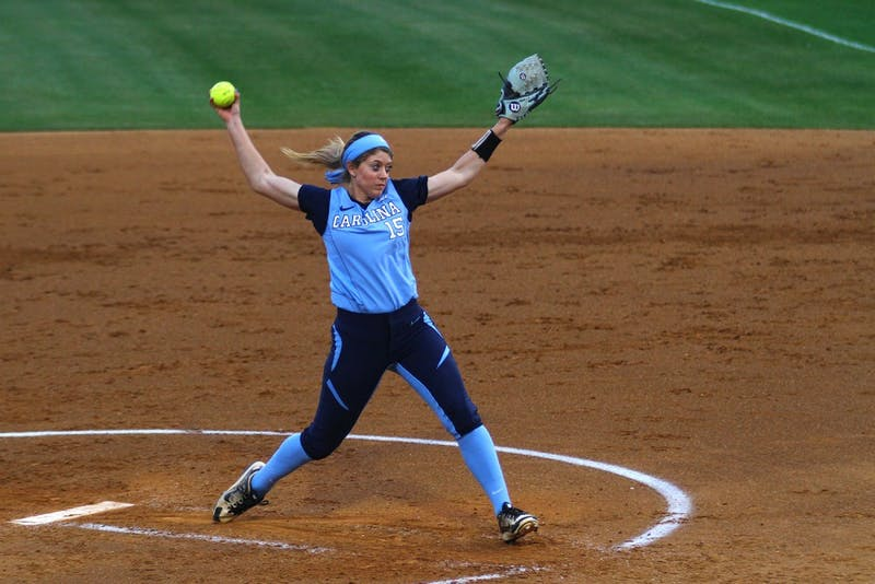 Kendra Lynch throws a pitch during the softball team's victory over Notre Dame on April 25.