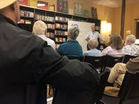 "Richard Kohn lectured Wednesday at Flyleaf Books about the relationship between the last two United States presidents and the military as part of a three part ""Warfare, Society and the Military"" series by Carolina Public Humanities."