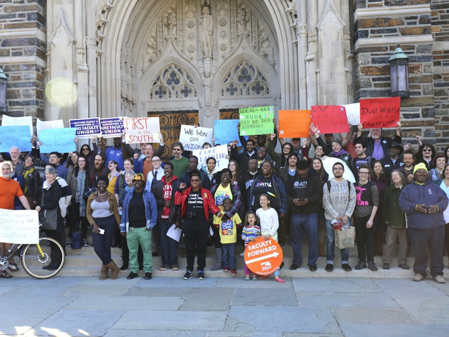 People gather at Duke Chapel to celebrate Duke Teaching First becoming eligible to unionize.