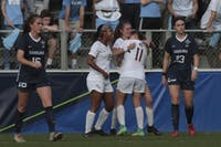 Florida State celebrates the only goal of the NCAA Championship game against UNC on Sunday, Dec. 2, 2018 at WakeMed Soccer Park.