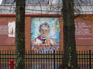 "A mural of Pauli Murray, a local civil rights activist and the subject of a new WUNC podcast adorns a wall along S Buchanan Blvd in Durham on Sunday, Feb. 14, 2021. The piece is part of a collaborative public art project in Durham called ""Face Up: Telling Stories of Community Life."""