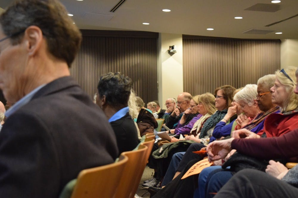 "<p>Citizens of Chapel Hill gather to discuss the topic of the coal plant implementation in town and its effect on UNC. ""Don't let UNC drag it's feet,"" coming from the words of John Wagner speaking on the issue at Chapel Hill's Town Hall on Wednesday, Feb. 9, 2019.&nbsp;</p>"