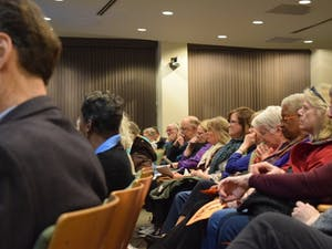 "Citizens of Chapel Hill gather to discuss the topic of the coal plant implementation in town and its effect on UNC. ""Don't let UNC drag it's feet,"" coming from the words of John Wagner speaking on the issue at Chapel Hill's Town Hall on Wednesday, Feb. 9, 2019."