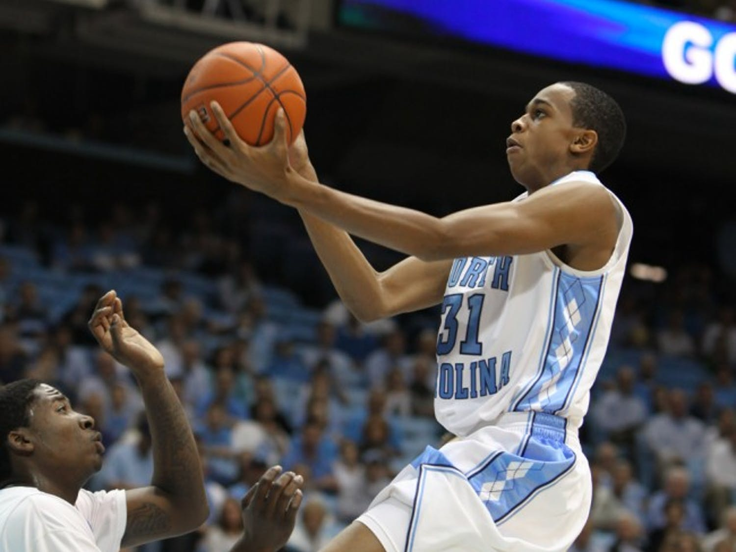 Freshman John Henson said UNC's success in the NIT has been a welcome break from the struggles the team has faced.DTH/Phong Dinh