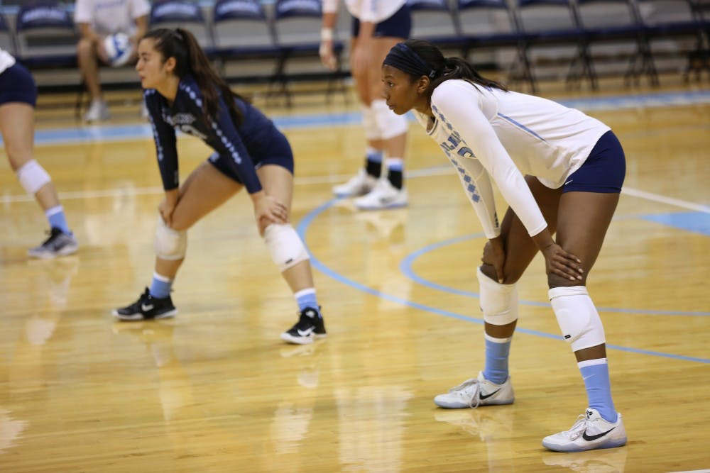 <p>Taylor Leath (43) stands ready to receive the ball during the North Carolina volleyball team's Blue &amp; White Match on Aug. 19.&nbsp;</p>