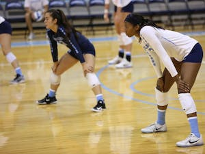 Taylor Leath (43) stands ready to receive the ball during the North Carolina volleyball team's Blue & White Match on Aug. 19.