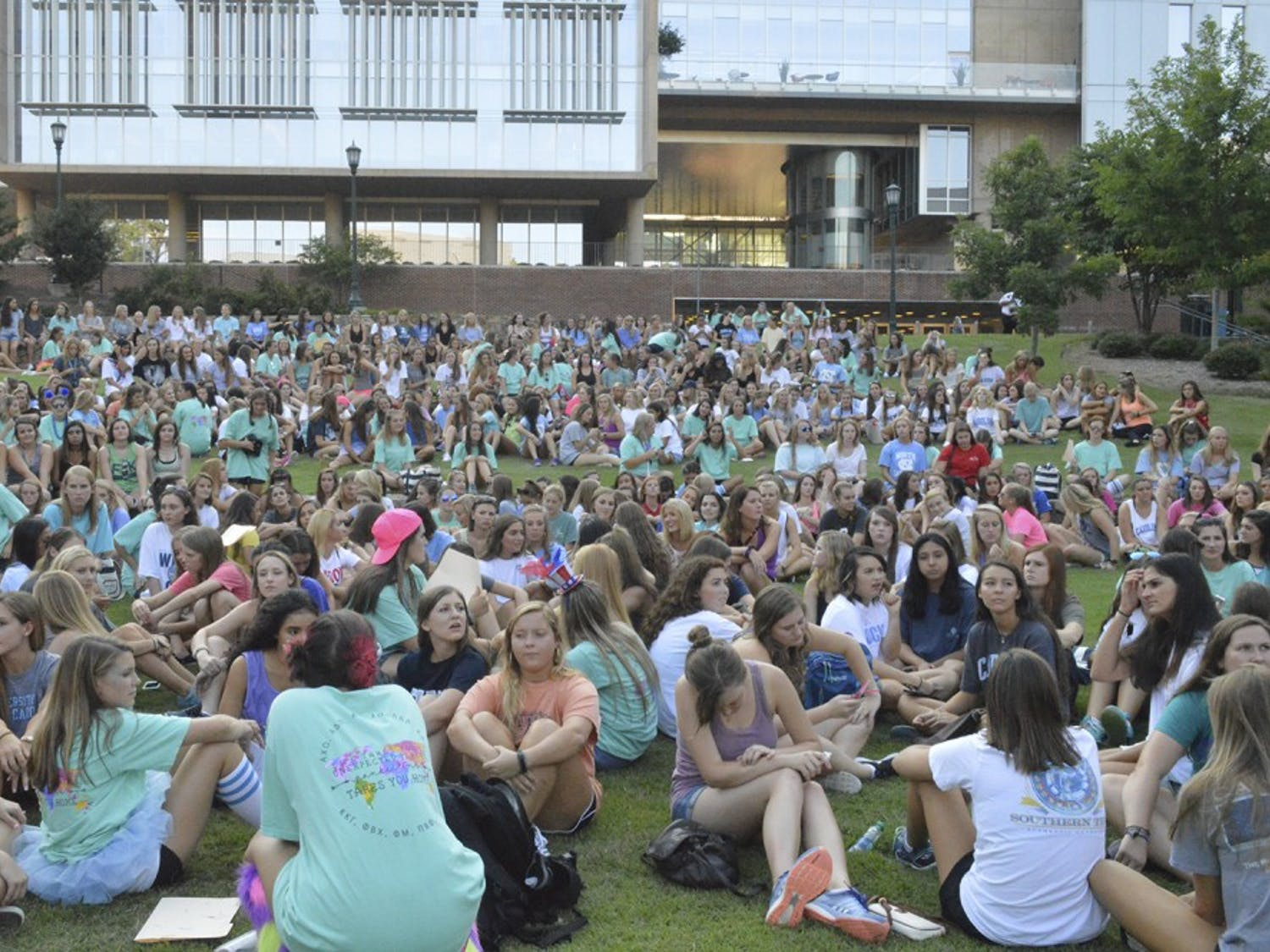 Bid Day was a huge success for all the sororities at UNC Wednesday evening.  After gathering in the Bell Tower Amphitheatre to reveal the rushees new sisterhoods, new members ran to their designated houses to celebrate.
