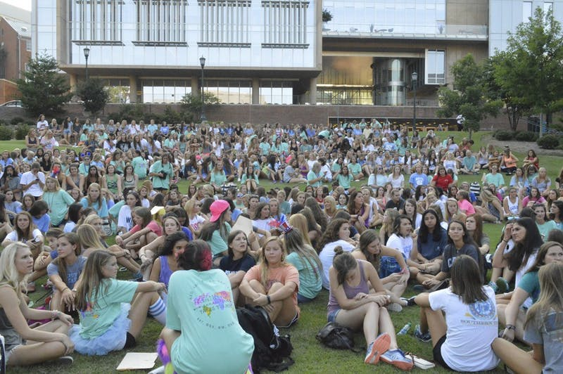 UNC students participate in Bid day on Wednesday throughout campus and Chapel Hill.