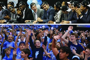 Thousands of fans welcomed the victorious UNC men's basketball team back to Chapel Hill in the Smith Center Tuesday afternoon.