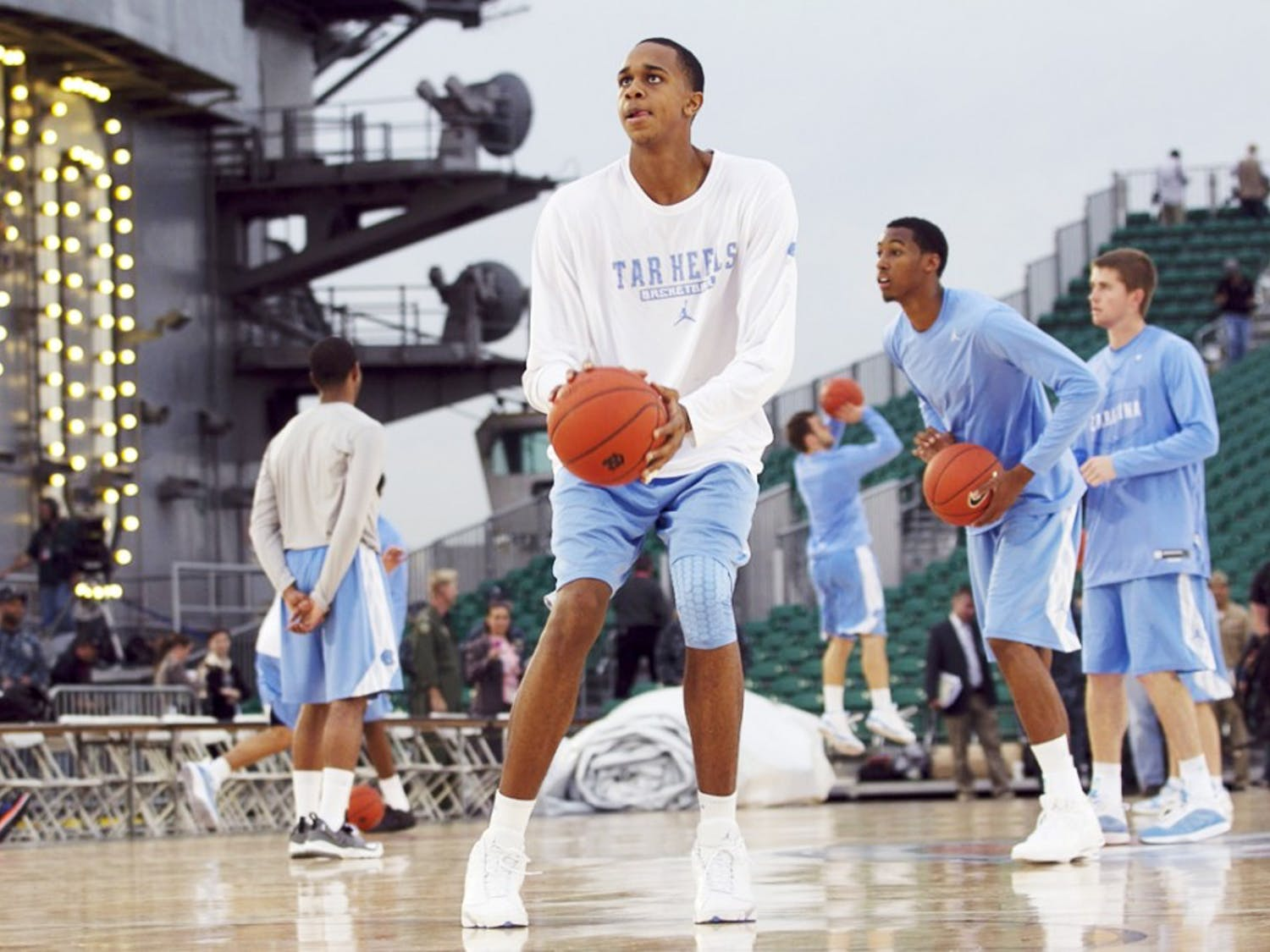 North Carolina's John Henson (31) and his teammates go through a shoot around on the deck of the USS Carl Vinson in Coronado, California, Thursday November 10, 2011. UNC practiced for the game with Michigan State on the carrier during the Carrier Classic on Veterans Day. (Robert Willett/Raleigh News & Observer/MCT)