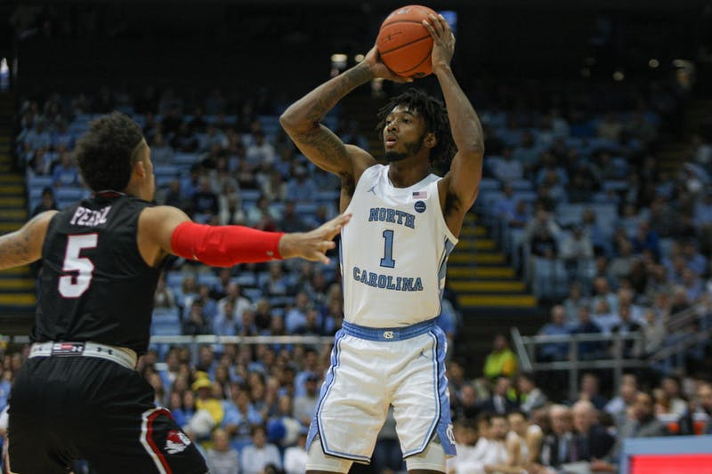 UNC's sophomore guard Leaky Black (1) prepares to pass the ball during a game against Gardner-Webb on Friday, Nov. 15, 2019. UNC beat Gardner-Webb 77-61.