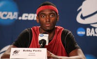 Arkansas forward Bobby Portis addresses the media in a press conference on Friday.  The Tar Heels will play the Razorbacks Saturday at 8:40 p.m.