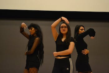 First-years Mayumi Sayek, Genie Shekar, and Norma Reyes perform at the 2017 Korean Fall Festival and K-pop Contest on Thursday night.