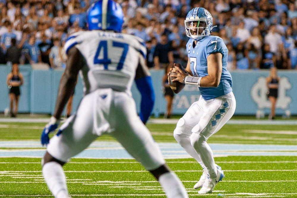 UNC junior quarterback Sam Howell (7) prepares to shotgun the ball during the Tar Heels' home matchup in Kenan Memorial Stadium on Saturday, Sept. 11, 2021 against the Georgia State Panthers.