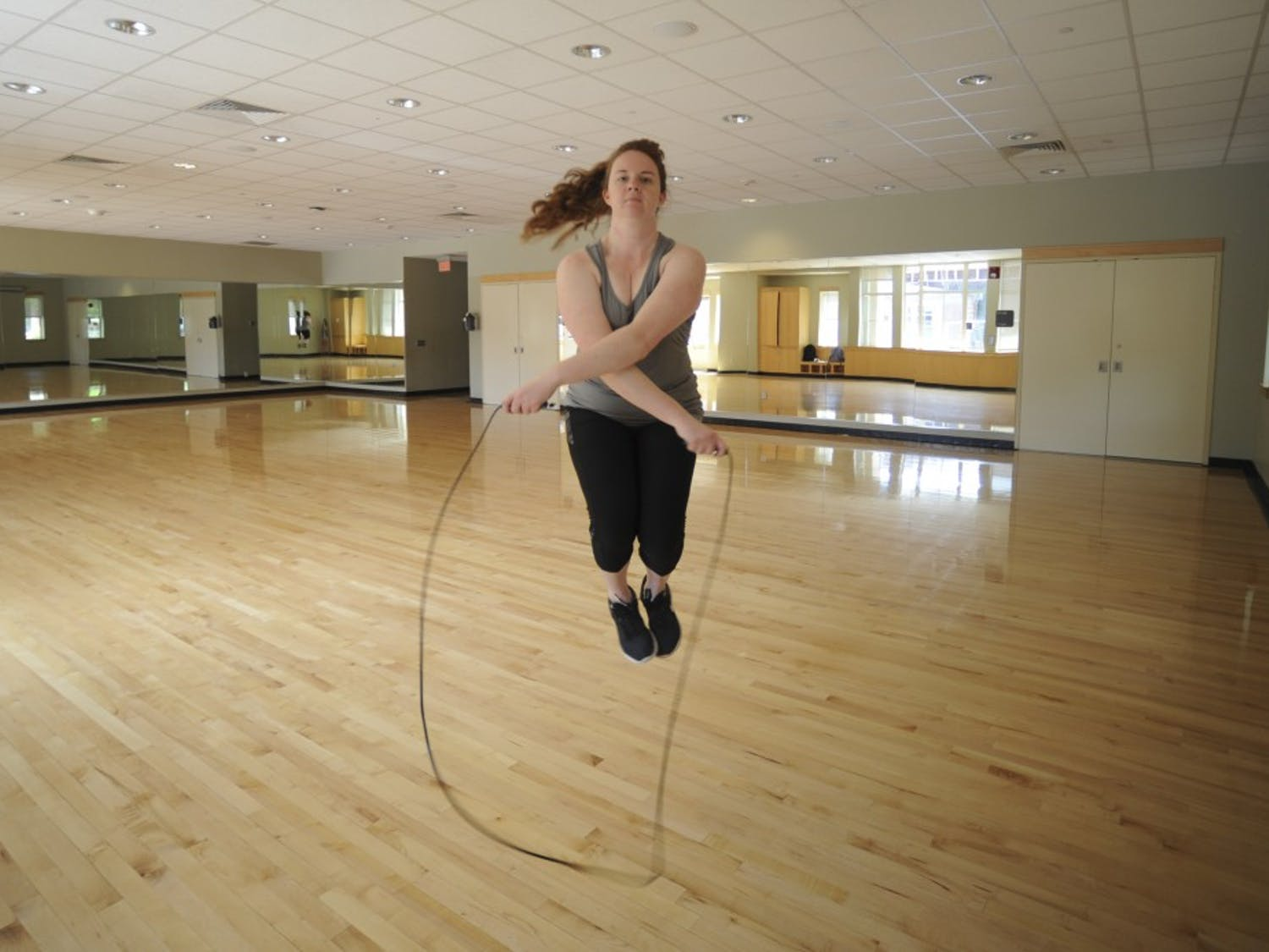 First-year music major Lauren Ragsdale likes to use the on-campus gyms to jump rope as a way to stay active. She is pictured here working out in a studio room in Ram's Head Gym at the University of North Carolina at Chapel Hill on Wednesday April, 24, 2019.