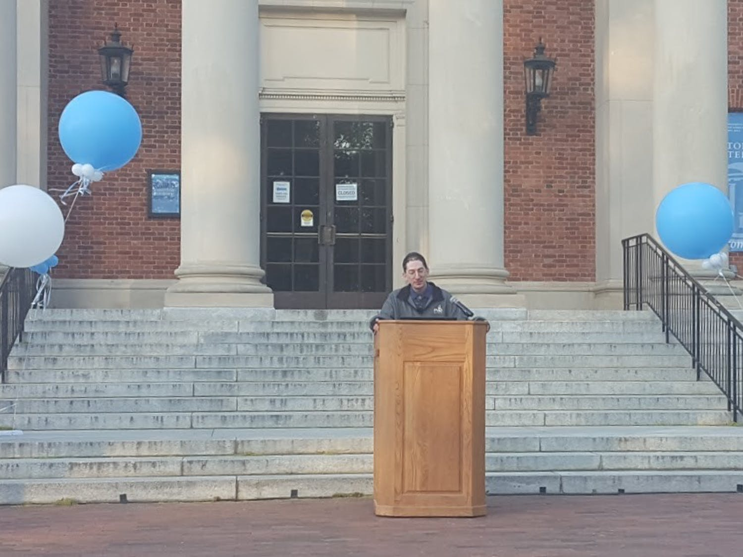UNC Astronomy and Physics Professor Dan Reichart delivered the lecture on the steps of Morehead Planetarium.