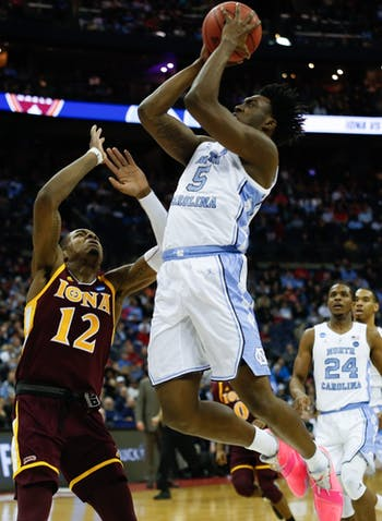 First-year forward Nassir Little (5) takes a shot during the first round of the NCAA Championship against Iona at Nationwide Arena in Columbus, Ohio on Friday, March 22, 2019.