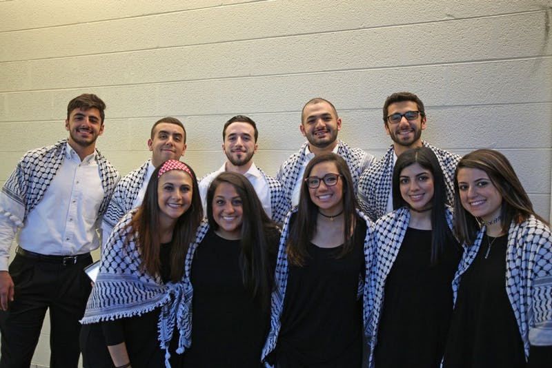 Traditional Palestinian dancers from NC State come to UNC to participate in the Palestinian culture night in Hanes Art Center.