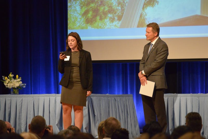 After announcing the Sterling A. Stoudemire Award for Excellence in Spanish, Julia Pulawski stopped before receiving her award to criticize Interim Chancellor Kevin Guskiewicz in relation to Pulawski's arrest during a Silent Sam protest at the Chancellor's Awards Ceremony on Tuesday, April 16, 2019 in the Great Hall of the Student Union.
