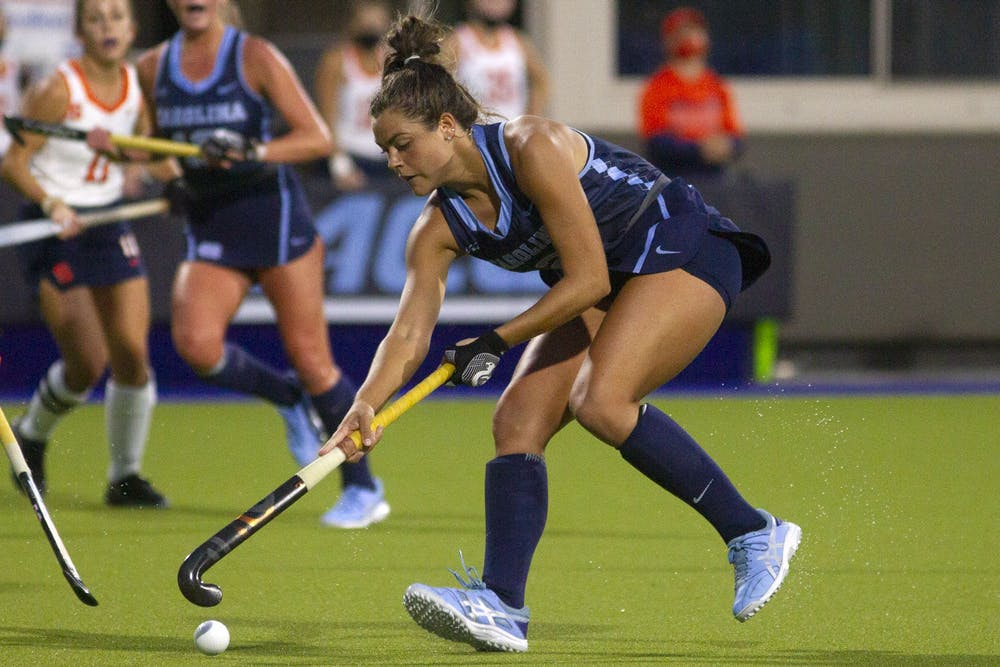 Redshirt junior forward Meredith Shoulder (2) gains possession of the ball against Syracuse on Oct. 16, 2020 in Karen Shelton Stadium in Chapel Hill, N.C. UNC beat Syracuse 1-0.