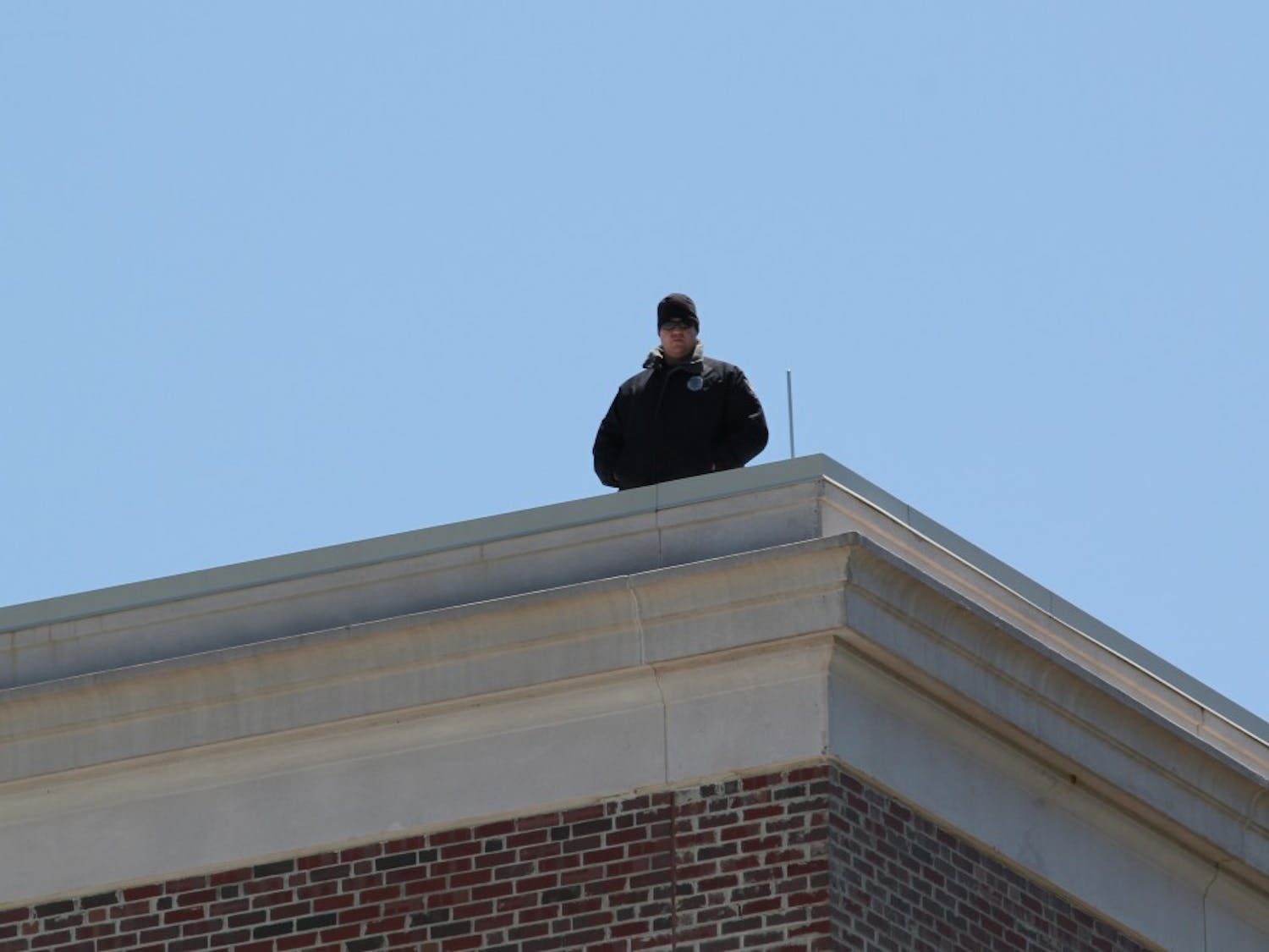 Secret service was on the roof of Memorial Hall.