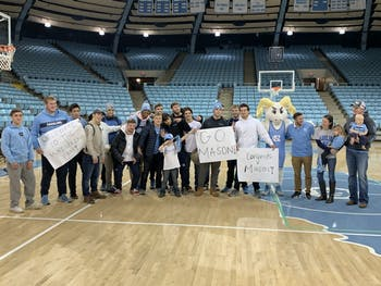 The UNC wrestling team held a special draft for Mason Fannin, a 7-year-old with Leukemia, on Wednesday, Nov. 13, 2019.