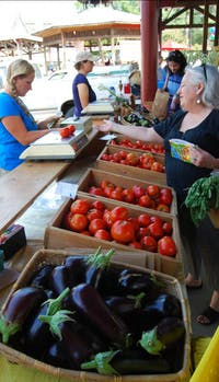 Megan Cornett, an employee with Maple Spring Gardens in Cedar Grove, N.C., sells fresh tomatoes to a customer on Saturday morning. Maple Spring Gardens is one of the vendors that participated in the donation program to help homeless shelters and the needy, the Triangle Foodshare Challenge.
