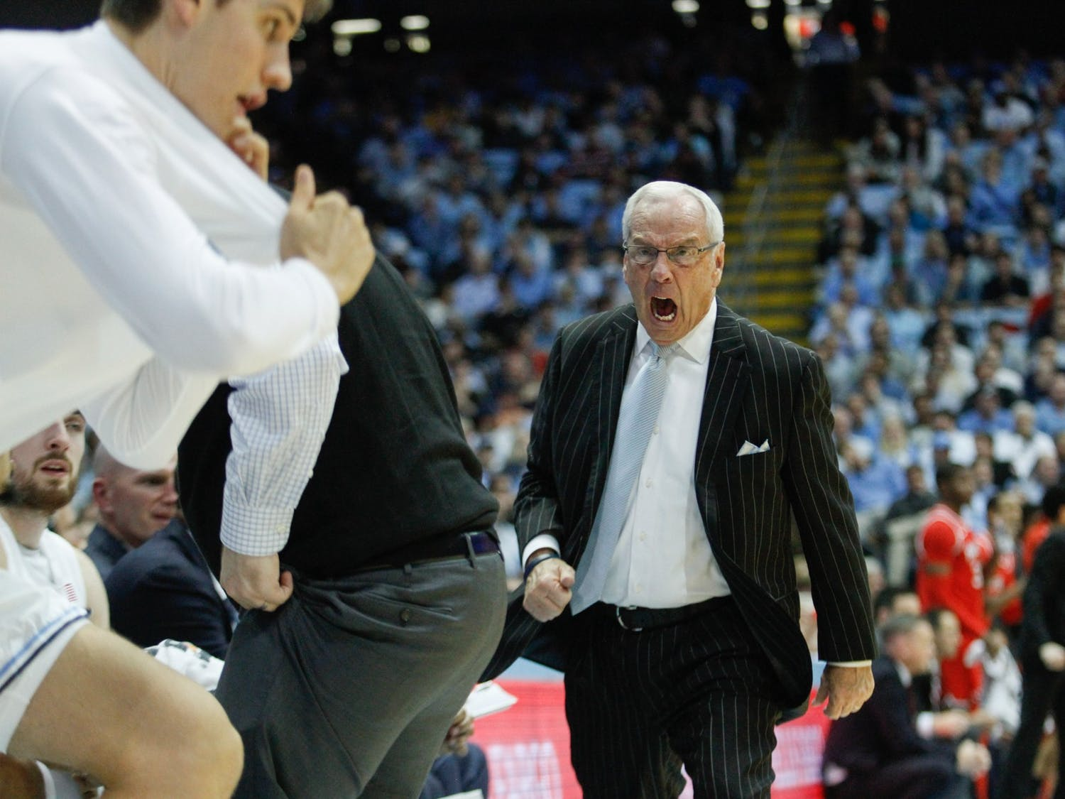 UNC head coach Roy Williams yells at his team and benches all of UNC's starters in the game against Ohio State in the Smith Center on Wednesday, Dec. 4, 2019. UNC lost to Ohio State 74-49.