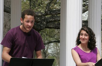 """The Water Theme play read on March 22nd at 1:30pm at the Old Well as part of the two year water theme. The play read was called """"The Way of Water"""" by Caridad Svich.PicturedStephanie Linas-plays """"Yuki"""", wearing purple shirt, senior, Dramatic Art major, says that the play was workshopped in NYC and that """"The purose of the reading is to get feedback."""" Allen Tedder-plays """"Jimmy"""", sophomore Dramatic Art majorMadison Scott-Stage Manager, Sophomore Global Studies of the Middle East and Dramatic Art double major (in the scarf) The reading was headed by Nathaniel Claridad, a MFA Candidate in Professional Actor Training, not present"""