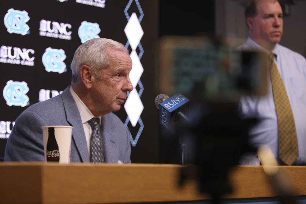 Head Coach Roy Williams speaks to the press after the game against N.C. State in the Smith Center on Tuesday, Feb. 25, 2020. UNC beat N.C. State 85-79.