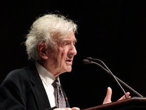 """Elie Wiesel gives a speech titled """"Against Indifference"""" in Memorial Hall on Sunday afternoon. Wiesel received the 1986 Nobel Peace Prize."""