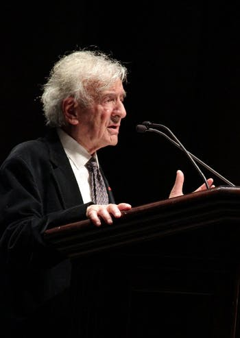 "Elie Wiesel gives a speech titled ""Against Indifference"" in Memorial Hall on Sunday afternoon. Wiesel received the 1986 Nobel Peace Prize."