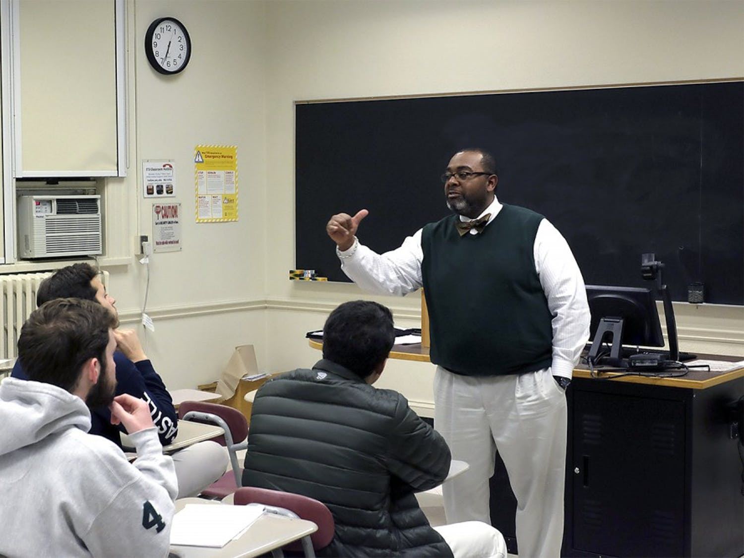 Ion Outterbridge, the coordinator of the Office of Fraternity & Sorority Life and Community Involvement, speaks to the presidents and risk managers of UNC's fraternities.