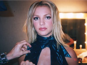 "Behind the scenes during the shoot for the ""Lucky"" music video in 2000, a moment captured by Britney Spears' assistant and friend Felicia Culotta. (Photo courtesy of FX/TNS)"