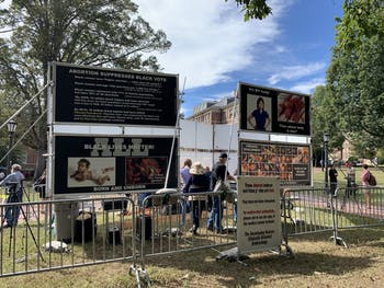 The Genocide Awareness Project, an anti-abortion movement, came to campus on Monday, October 21, 2019 for a demonstration. The project's large-scale installation compared abortion to historic acts of violence and genocide.