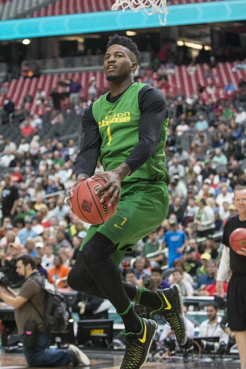 Oregon's Jordan Bell blocked eight shots in the Ducks' Elite Eight win over Kansas. Photo courtesy of Adam Eberhardt/Emerald.