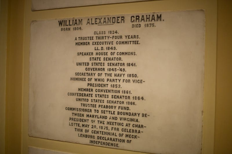 A plaque to honor William Alexander Graham, Confederate States Senator among many other titles, is pictured on display in Memorial Hall on Thursday, Jan. 16, 2020. After the UNC System's decision to give funding and perpetual rights to Silent Sam to the North Carolina Sons of Confederate Veterans, Carolina Performing Arts released a statement on how surprised they were about the decision. Though CPA's statement recognized the plaques as a reminder of Southern history, their future is unknown.
