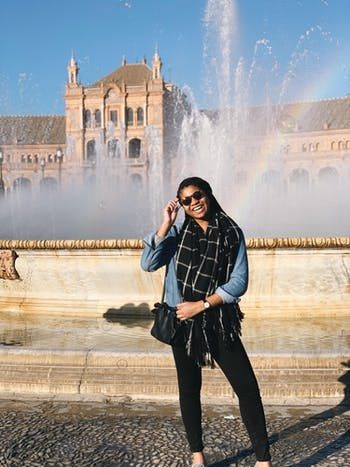 """Sophomore Morehead-Cain Scholar Ruth Samuel poses in front of the Plaza de España. """"Here's me on my second day in Spain in front of the Plaza de España in Sevilla, where Game of Thrones (and I think Star Wars) has been filmed!"""""""