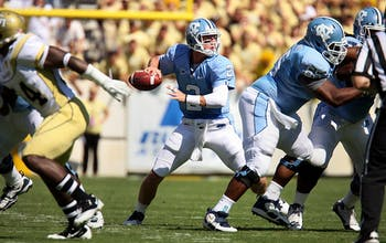UNC quarterback Bryn Renner throws a pass during the game against Georgia Tech on Saturday. UNC lost to Georgia Tech 28-35.