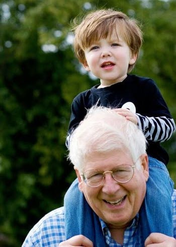 David Price with his grandson Charles in London in August 2008. His son Michael is a professor in London. Photo courtesy of Michael Price.
