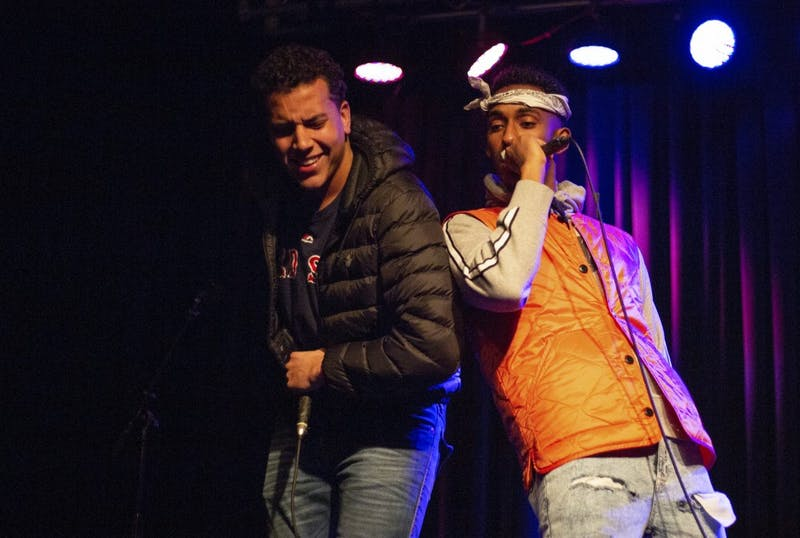 Jemal Abdulhadi (right) and Nicho Stevens (left) perform at the Cat's Cradle Back Room on Thursday, Jan. 31, 2019 at the King of the Hill: Hip Hop Showcase to promote and celebrate Abdulhadi's album release under the name of J Dasani.