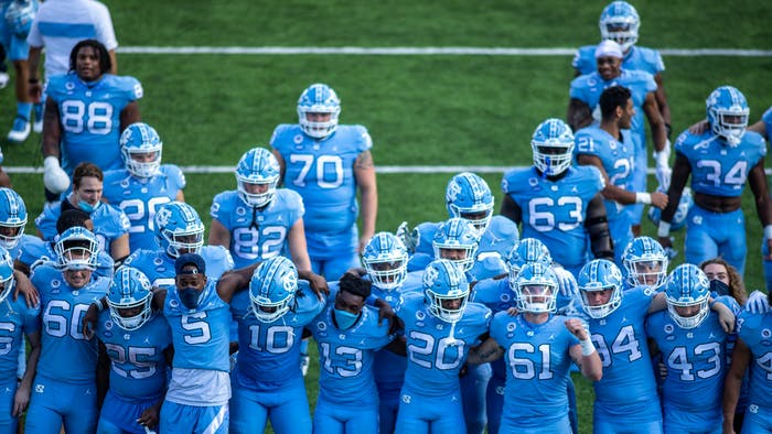 The UNC football team sings the alma mater in Kenan Stadium Oct. 24, 2020. The Tar Heels beat the Wolfpack 48-21.