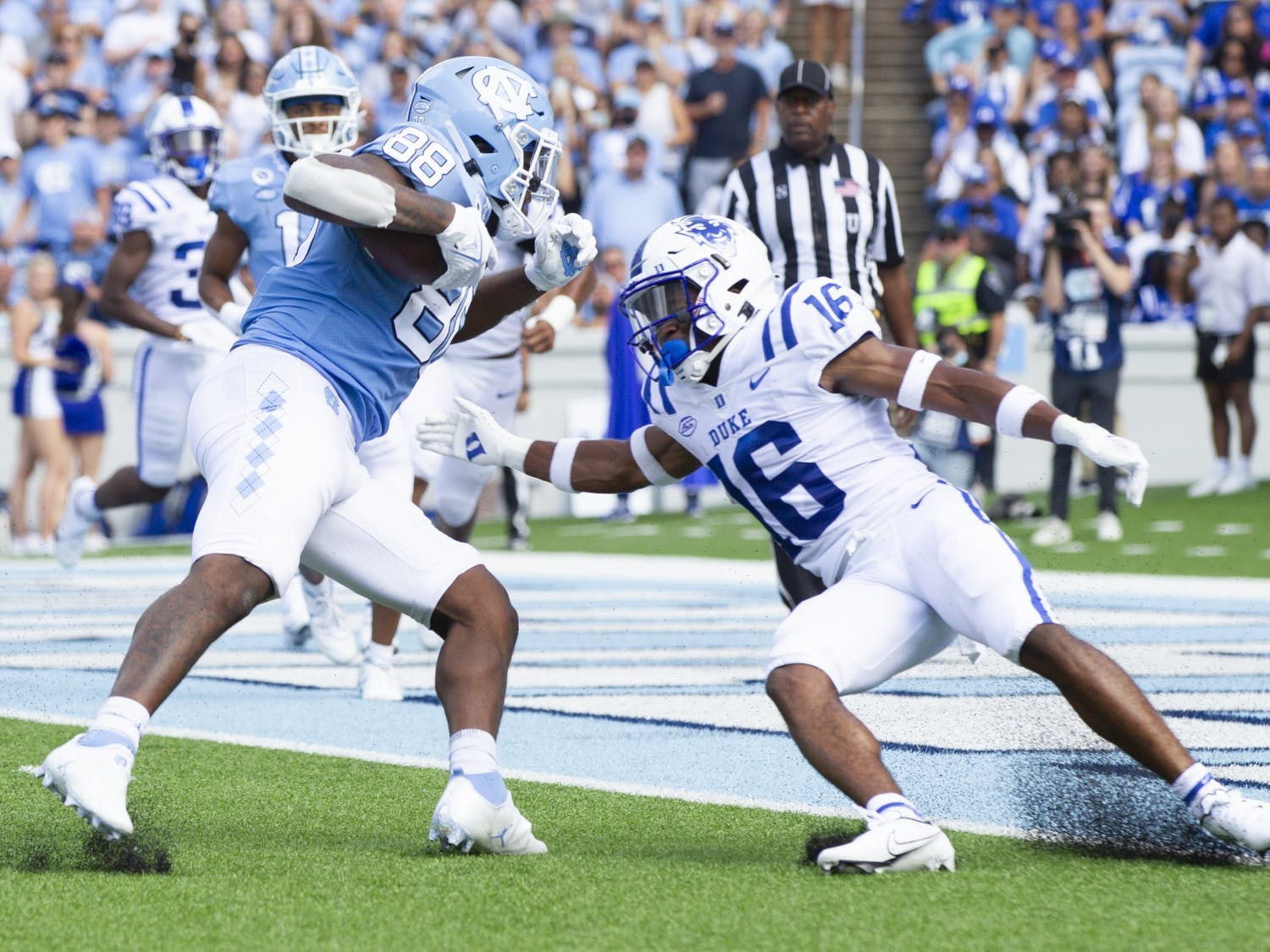Sophomore tight end Kamari Morales (88) approaches the end zone moments before scoring a touchdown in the game against Duke at Kenan Memorial Stadium on Oct. 2, 2021.