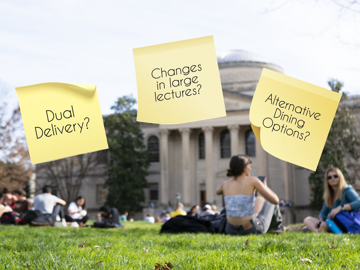 Students sit on the quad at Polk Place on Monday, February 3, 2020. Added graphics refer to the questions surrounding a return to UNC's campus in mid-August of 2020 for the Fall 2020 semester at what will hopefully be the tail end of the COVID-19 pandemic.